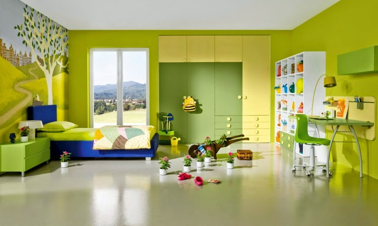 dormitorio color verde amarillo
