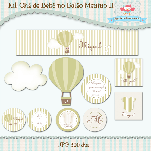 arte digital, kit digital, balão, chá de bebê, topper, tags, rótulos, caixas, elementos