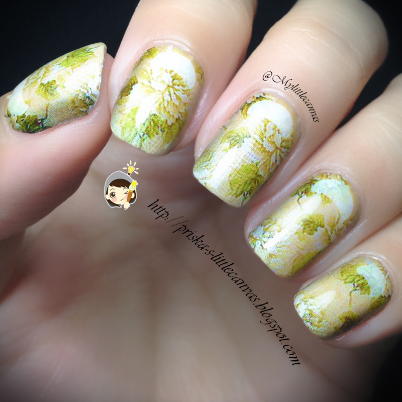 Nail Art Bunga: @MyLittleCanvas: Floral-Wallpaper-Style Nail Art (IN