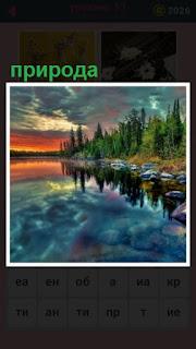 красивый пейзаж озера с деревьями на берегу
