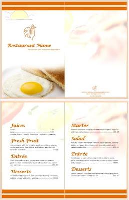 sencilla plantilla de menu para restaurante en word