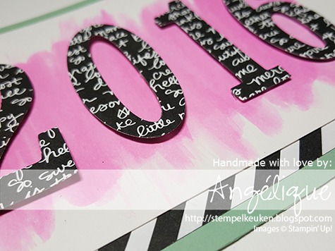 http://stempelkeuken.blogspot.com De Stempelkeuken Large Numbers Framelits, Number of Years, Number of Years bundle, Whisper White, Mint Macaron, Melon Mambo, Rhinestone Basic, Big Shot, Aqua Painters, Aquarelleren, Stampin' Dimensionals