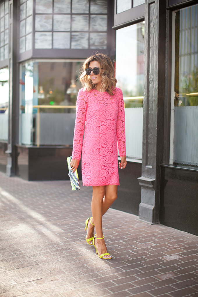 1906fa93d3 Pink Lace Dress (also loving these fall hues)    Prabal Gurung Heels (old  similar here)    Nila Anthony Neon Beaded Clutch    Karen Walker Sunglasses  ...