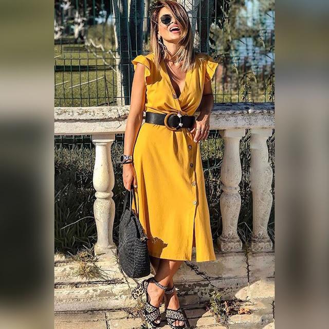Κοντομάνικο μουστάρδι φόρεμα LAYLA