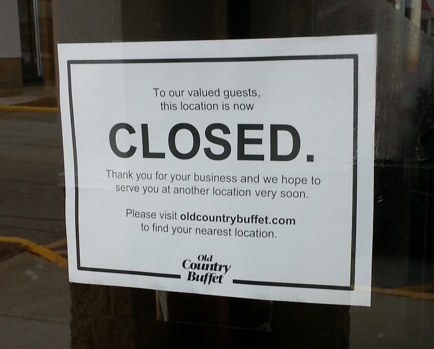 The Old Country Buffet In Park Center Plaza At 159th Street And Harlem Avenue Tinley Closed Abruptly Recently Sports Authority To Close 3 S