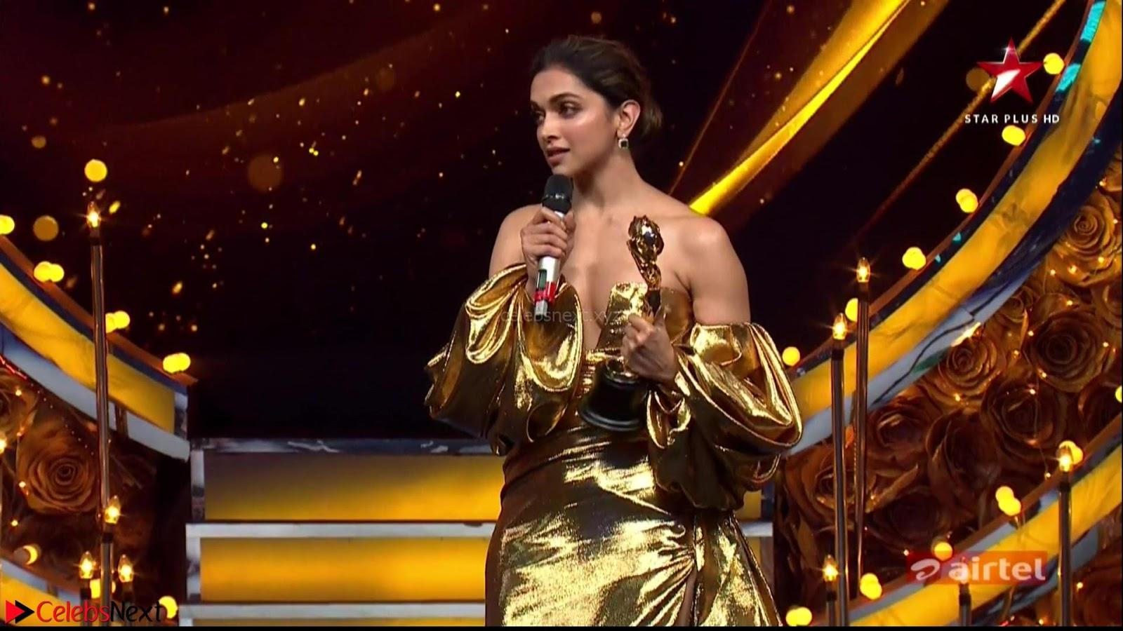Deepika Padukone in Glittering Deep neck Golden Gown at  Lux Golden Rose Awards 2018 CelebsNext Exclusive
