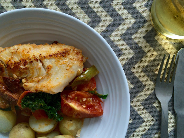 cod and tomato one pot with kale