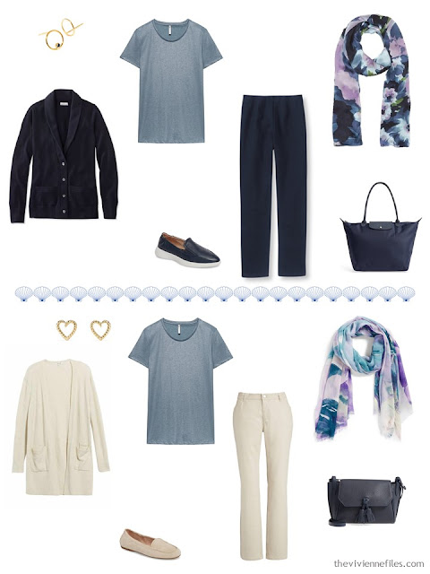 2 ways to wear a muted teal tee from a 4 by 4 Travel Capsule Wardrobe