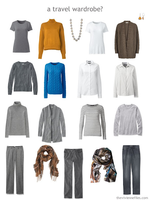 a travel capsule wardrobe in grey with blue, brown and orange accents