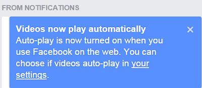 Pemberitahuan Facebook Tentang Fitur Auto-Play Videos