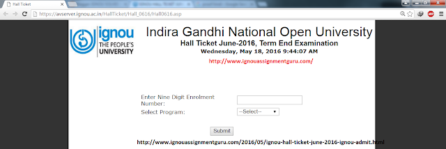 DOWNLOAD IGNOU HALL TICKET JUNE 2016