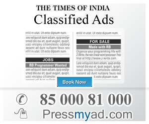 Now easily place your classified and display ads in Times of India newspaper via our 3 step booking process: Select Ad Type, Newspaper & Location: Select Classified Text or Classified Display Ad as per your requirement. Choose the preferred editions or pullouts under Times of India to view the corresponding ad charges.