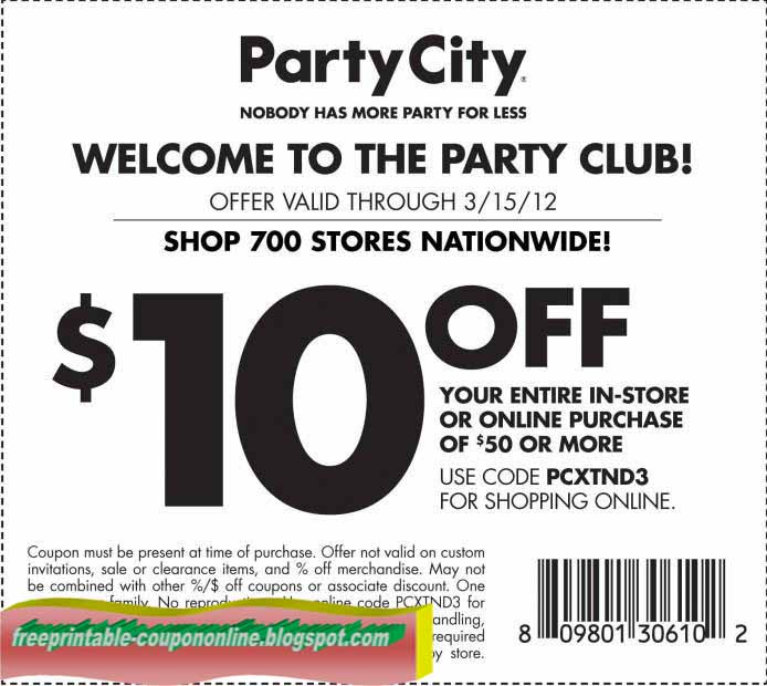 Party city coupon code 2018 free shipping