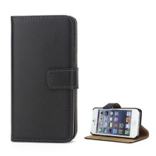 Genuine Split Leather Magnetic Credit Card Wallet Style Folio Stand Case for iPhone SE 5s 5 - Black