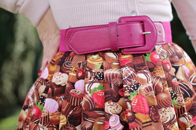 Victory Parade chocolate print skirt with pink belt