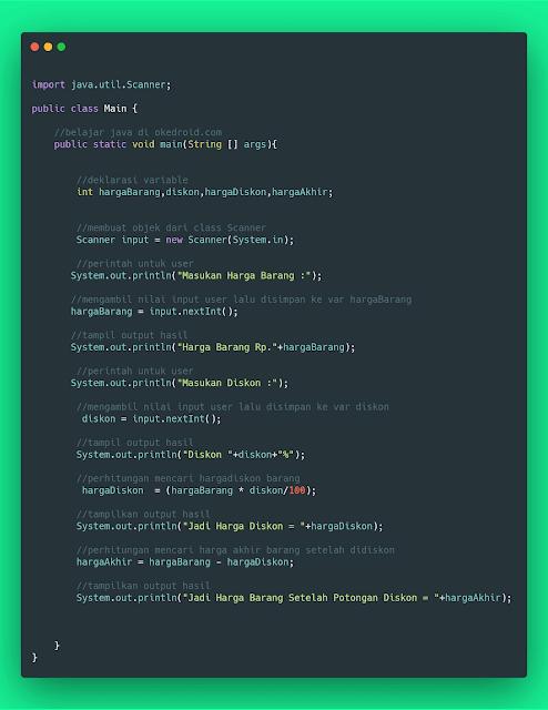 contoh code program java menghitung menentukan diskon suatu harga barang produk java