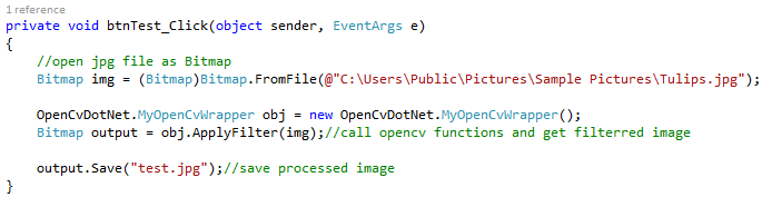 Milinda Pro: Call OpenCV functions from C# net (Bitmap to