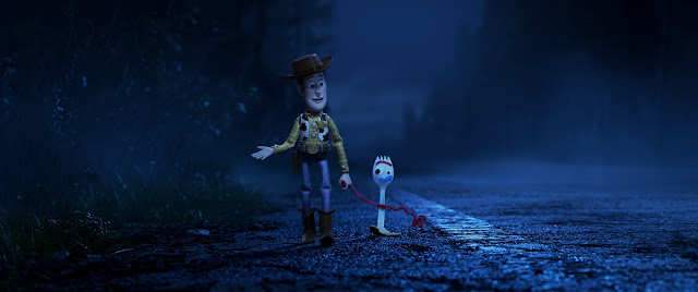 Toy Story 4 Woody and Forky walking
