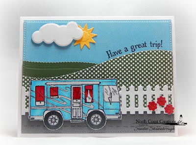 North Coast Creations Stamp Set: Camper Sweet Camper,ODBD Paper Collection: Boho Bolds, ODBD Custom Dies: Fence, Clouds & Raindrops, Sunburst Background, Leafy Edged Borders, Pierced Rectangles, Pretty Posies