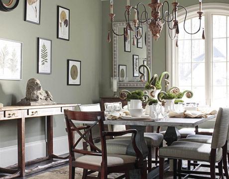 Gray Green Dining Room By Amelia Handegan