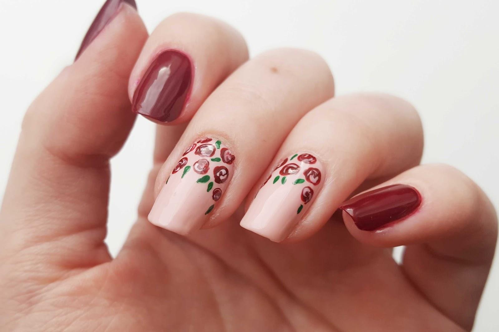 [Tutorial] Fall Rose Nails #ManiTober # ...