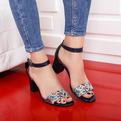 Sandale Piele naturala bleumarine cu toc gros