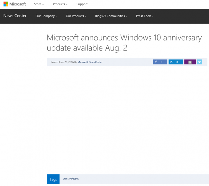 Windows 10 Anniversary Update disponibile dal 2 Agosto HTNovo