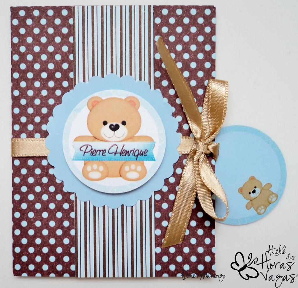 convite artesanal aniversário 1 aninho poá marrom azul ursinho