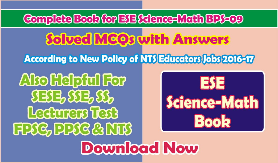 NTS Test Book For ESE Science Math MCQs With Answer Download