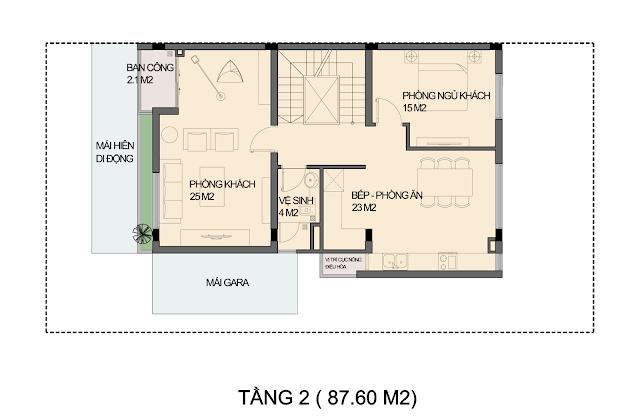 Mẫu thiết kế biệt thự P1-4 An Phú Shop Villa - Tầng 2