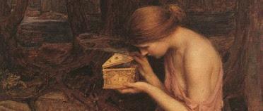Psyche otwierające złote pudełko metaforą własnej psychoterapii terapeuty