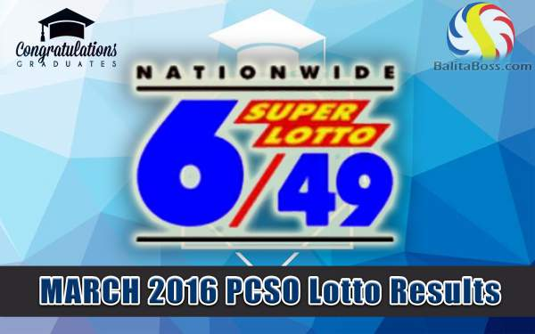 Image: March 2016 PCSO Superlotto 6/49