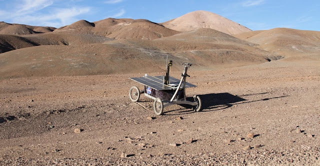 A trial NASA rover mission in the Mars-like Atacama desert. Credit: Prof Stephen B. Pointing