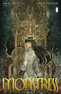Cover of Monstress, featuring an Asian girl with long black hair. She wears a long white coat with the sleeves pushed up to expose her wooden left arm. Behind her looms an elaborate brass sculpture of a woman with her eyes shadowed.
