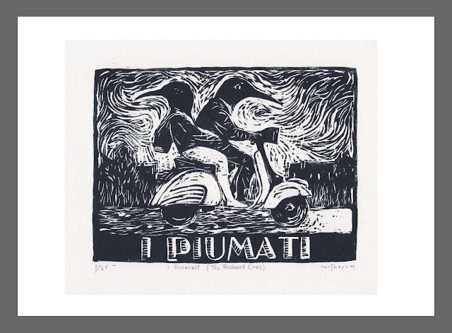I Piumati (The Feathered Ones). Edition of 25. Hand printed from a linocut block