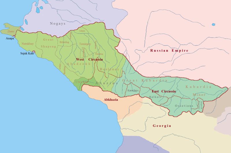фальшивая карта Черкесии и Северного Кавказа