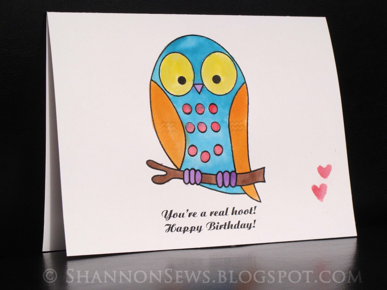Owl Handmade Birthday Card Created With Diy Watercolor Paint