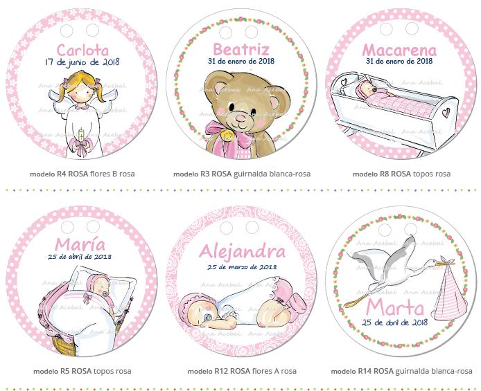 Etiquetas Bautizo nacimiento personalizadas niña
