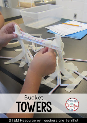 STEM Challenges: This amazing challenge uses one basic material- Straws! Add a few more items and see if your students can build a suspended bucket that will hold weight! We did learn to limit the amount of tape that could be used!