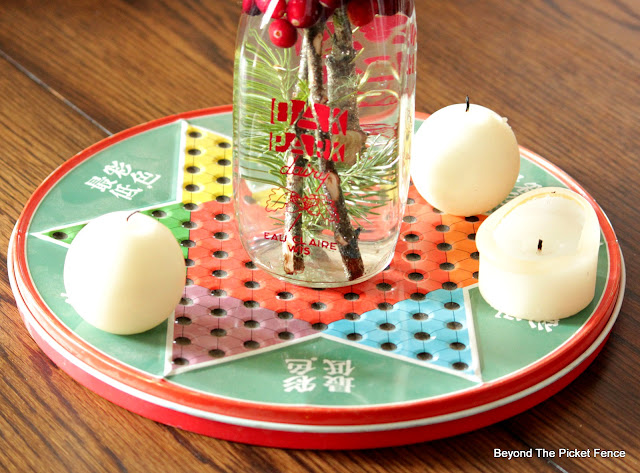 use an old game board for a simple centerpiece