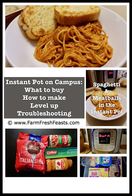 Use the Instant Pot to make spaghetti and meatballs the easy way--simple ingredients and only one pot to clean! This is a terrific recipe for campus cooking as it uses few ingredients and simple prep.