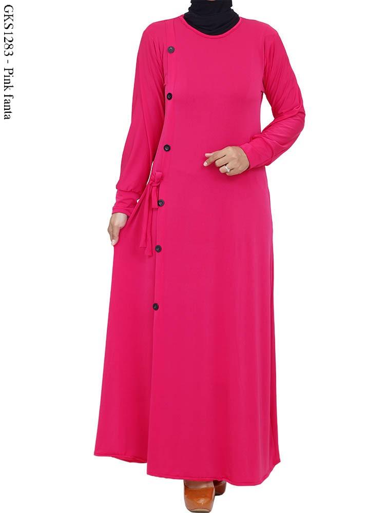 Gks1283 Gamis Jersey Kancing Polos Busana Muslim Murah