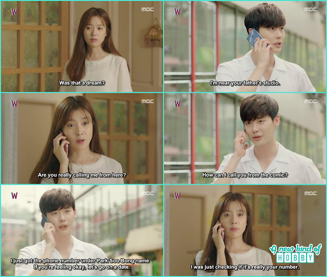 kang chul in real world he purchase the mobile phone under soo bong name and ask yeon jo for a date - W - Episode 12 Review