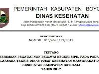 Penerimaan Pegawai Non PNS Dinas Kesehatan Kabupaten Boyolali Tahun 2017