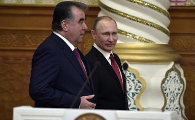 Vladimir Putin with Emomali Rahmon.