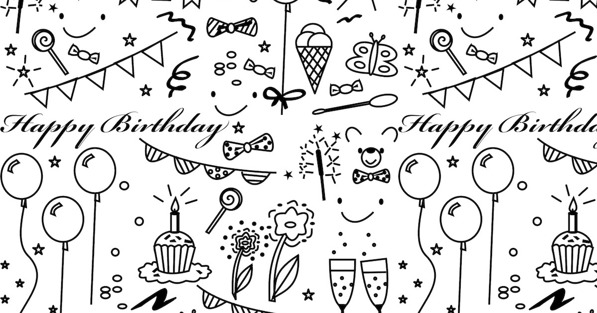free printable birthday coloring paper ausdruckbares geschenkpapier freebie meinlilapark. Black Bedroom Furniture Sets. Home Design Ideas