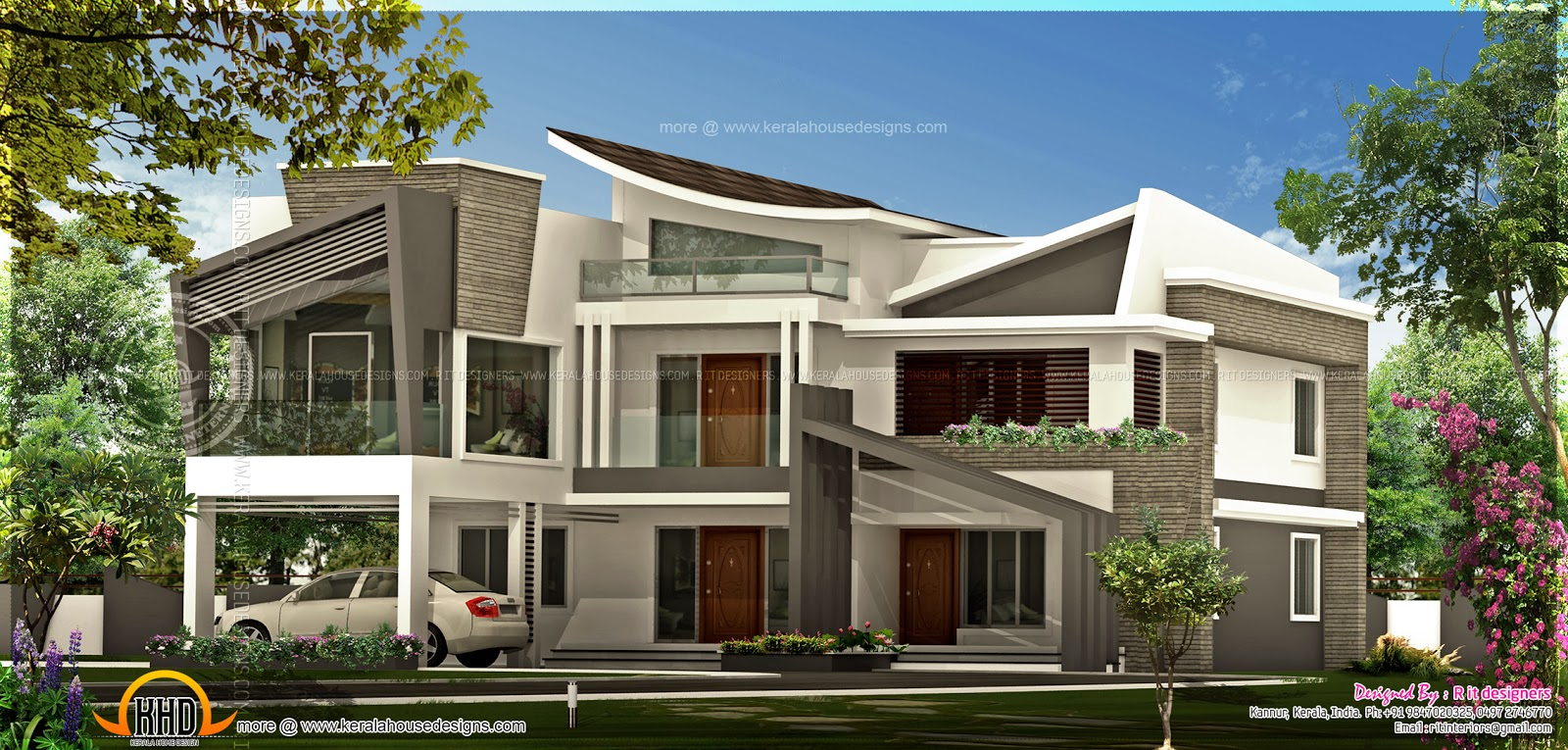 Unique contemporary luxury house kerala home design and for Custom modern homes