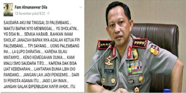 Inilah Status Facebook yang Menampar Telak Tito Karnavian : Berita Terhangat Hari Ini