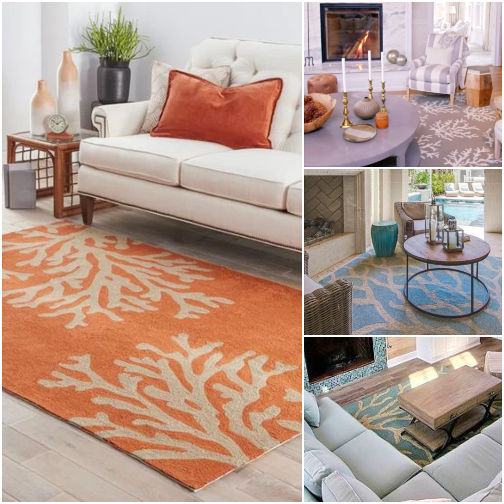 Coastal Coral Design Area Rugs