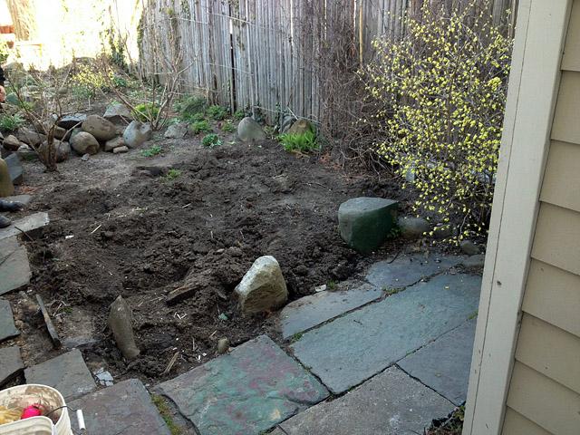 Reclaimed slate backyard patio Artist and Builder excavation